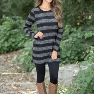 J crew black grey stripes shift dress full sleeves